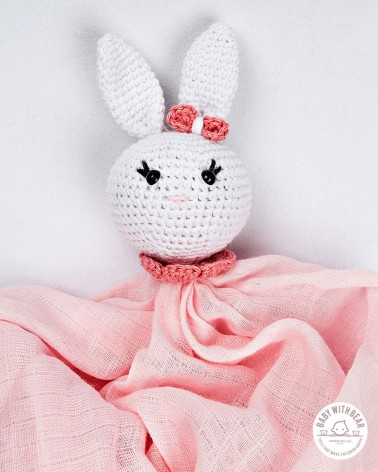 Crochet Baby Comforter Baby With Bear - Bunny White & Pink