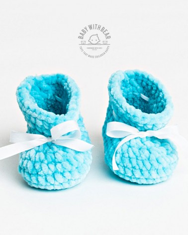 Crochet Baby Shoes BWB - Newborn Booties Blue