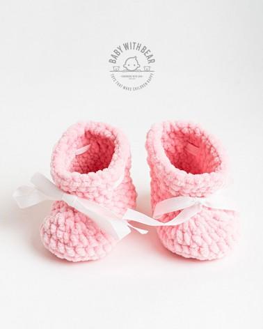 Crochet Baby Shoes BWB - Newborn Booties Pink