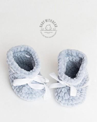 Crochet Baby Shoes BWB - UNISEX Newborn Booties Gray