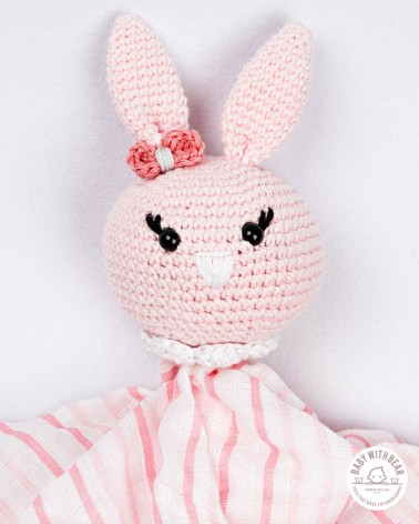 Crochet Baby Comforter Baby With Bear - Bunny Pink