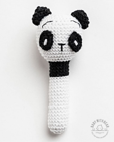 Crochet Hand Rattle - Baby With Bear Panda