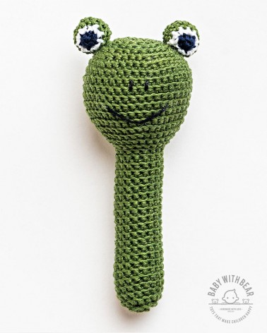 Crochet Hand Rattle - BWB - Frog Green