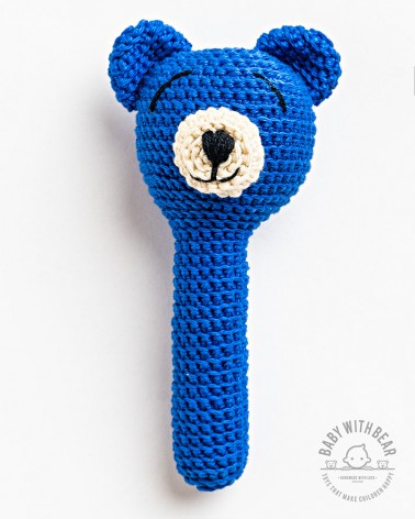 Crochet Hand Rattle BWB - Bear Blue