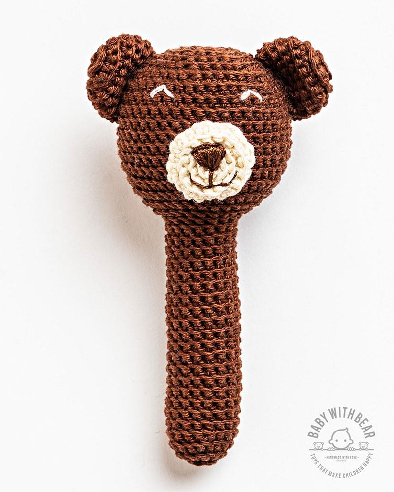 Crochet Hand Rattle BWB - Bear Brown