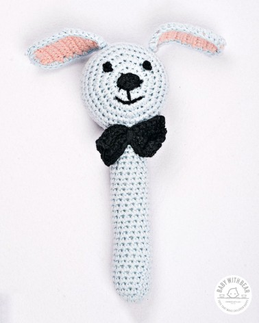 Crochet Hand Rattle - Dog light blue with bow