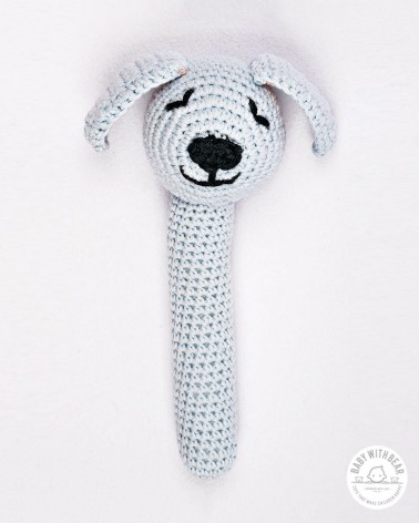 Crochet Hand Rattle - Dog light blue