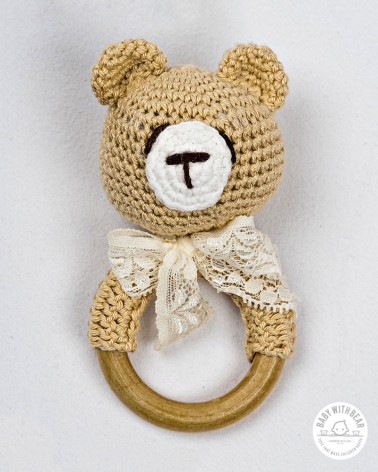 Crochet Rattle Ring BWB - Teddy Bear Teether Light Brown