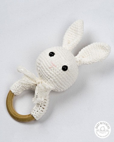 Crochet Rattle Ring BWB - Bunny Teether White