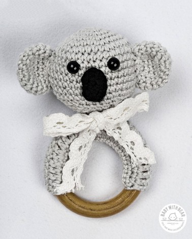 Crochet Rattle Ring BWB - Coala Teether Grey