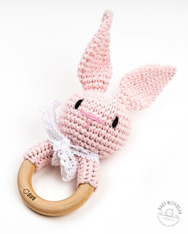 Crochet Rattle Ring BWB - Bunny Teether (Pink)