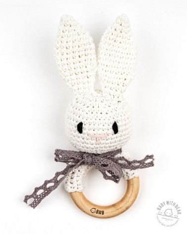 Crochet Rattle Ring BWB - Bunny Teether (White)