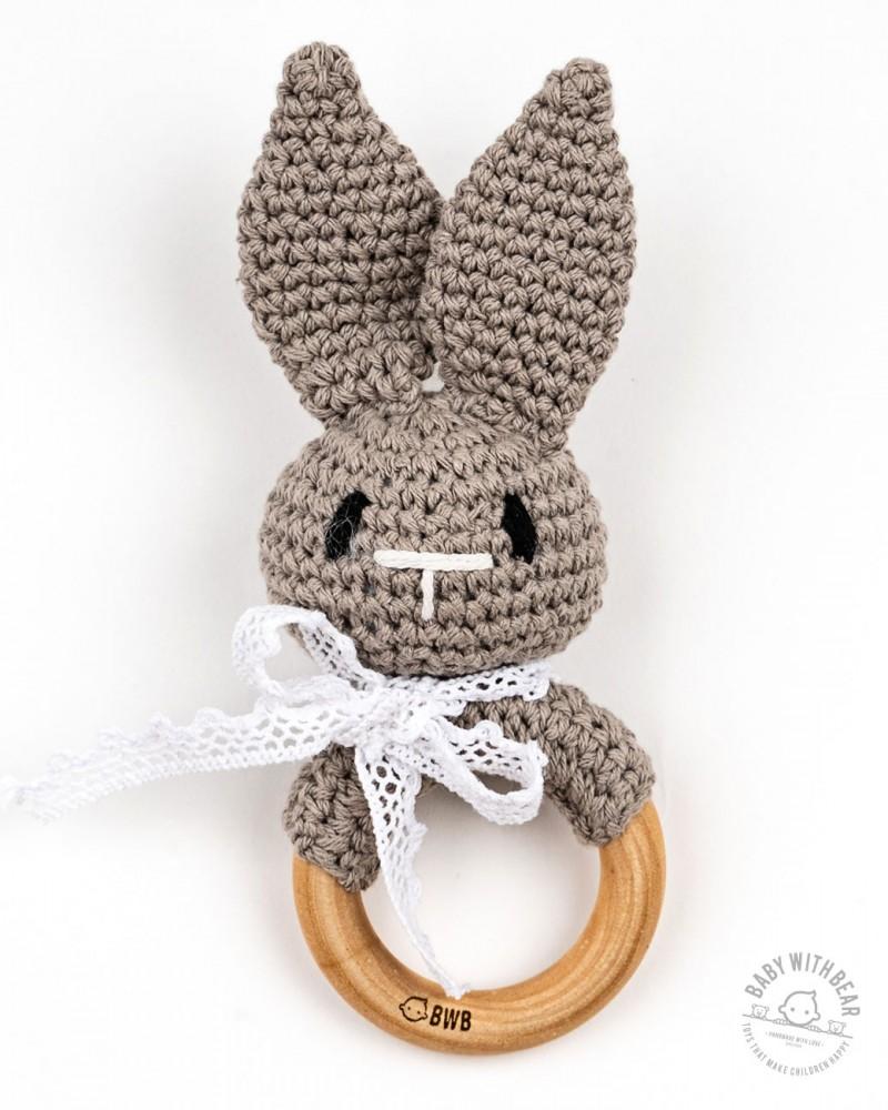 Crochet Rattle Ring BWB - Bunny Teether (Grey)
