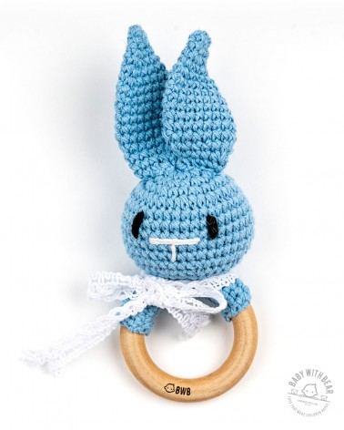 Crochet Rattle Ring BWB - Bunny Teether (Blue)