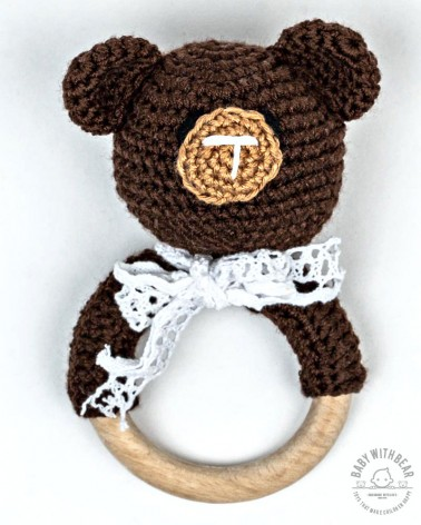 Crochet Rattle Ring BWB - Teddy Bear Teether Dark Brown