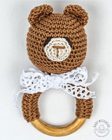 Crochet Rattle Ring BWB - Teddy Bear Teether Brown