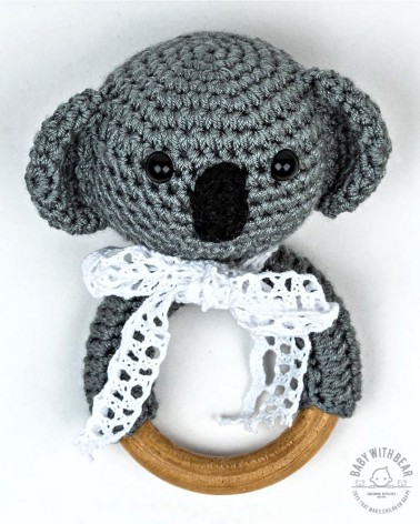 Crochet Rattle Ring BWB - Koala Teether