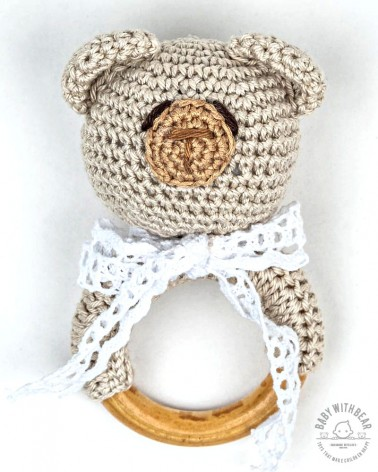 Crochet Rattle Ring BWB - Teddy Bear Teether Cream