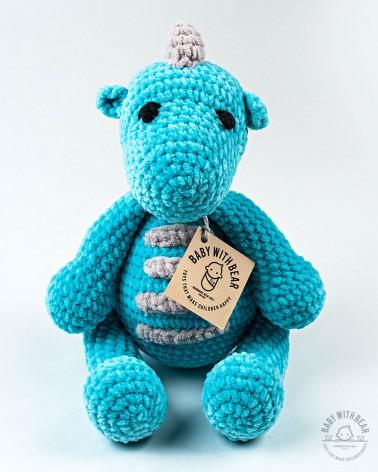 Amigurumi Dinosaurus Baby With Bear - Dino Blue XL