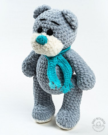 Amigurumi Teddy Bear BabyWithBear - Teddy Bear with Scarf Grey