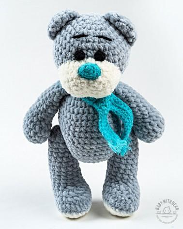 Amigurumi Teddy Bear BabyWithBear - Teddy Bear with Scarf Grey