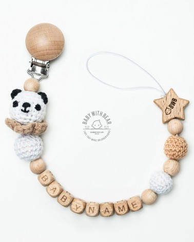 Personalised wood and crochet dummy clip / Pacifier holder - BWB Panda green - Baby gift