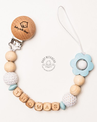 Personalised wooden dummy clip / Pacifier holder - Baby With Bear
