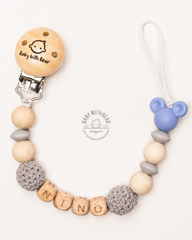 Personalised dummy clip / Pacifier holder - Baby With Bear