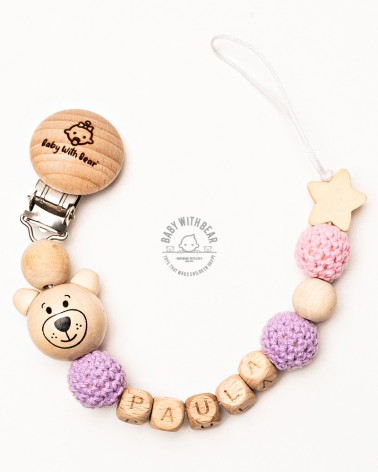 Personalised wooden dummy clip / Pacifier holder - Baby With Bear - Teddy