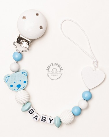 Personalised wooden dummy clip / Pacifier holder - Baby With Bear - Heart