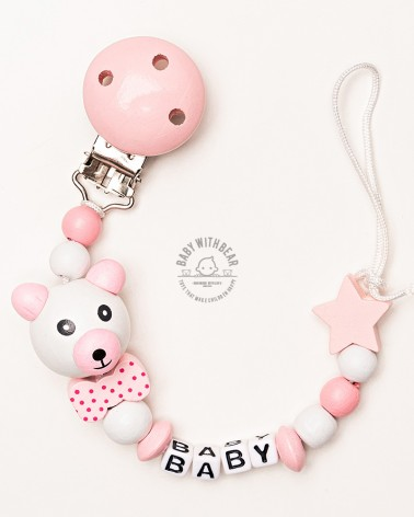 Personalised wooden dummy clip / Pacifier holder - Baby With Bear - Star