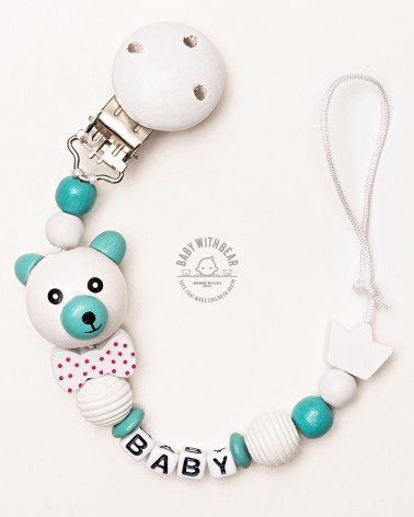 Personalised wooden dummy clip / Pacifier holder - Baby With Bear - Crown