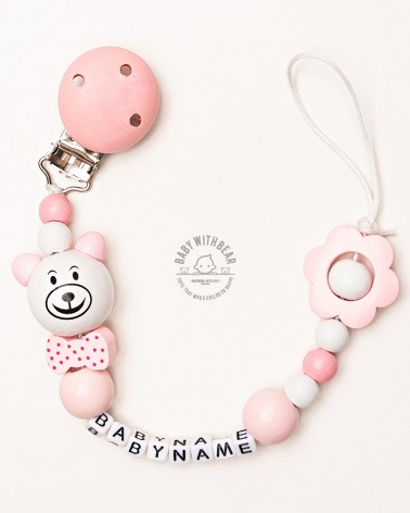 Personalised wooden dummy clip / Pacifier holder - Baby With Bear - Flower