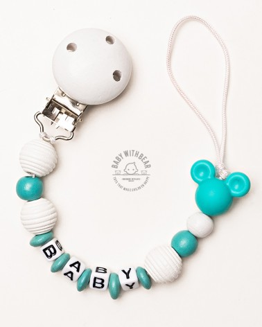 Personalised dummy clip / Pacifier holder - Baby With Bear - Mouse