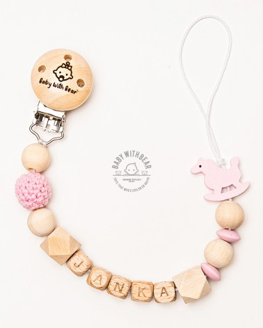 Personalised wooden dummy clip / Pacifier holder - Baby With Bear - Horse