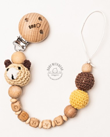 Personalised wood and crochet dummy clip / Pacifier holder - BWB - Bear
